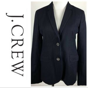 J. Crew Jacket Navy 2 Button Flap Pockets Lined